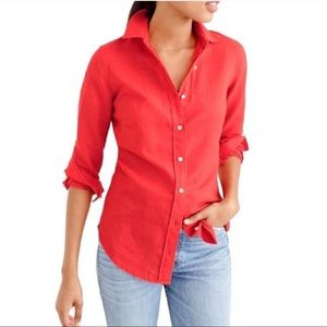 J CREW THE PERFECT SHIRT Coral Linen Button Up